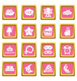 sleeping icons set pink square vector image vector image