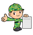soldier character is holding a paper isolated on vector image