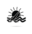 sun icon with beach chair black vector image vector image