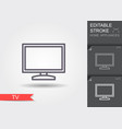 tv line icon with editable stroke with shadow vector image vector image