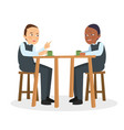 two guys talk and discuss on cafe vector image
