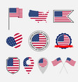 usa flag icons set national symbol united vector image vector image
