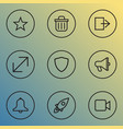 user icons line style set with star amplifier vector image vector image