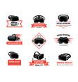 vr helmet logo badges set for gamers future vector image vector image
