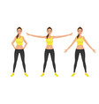 warming-up fit pretty woman in yellow crop top and vector image