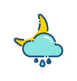 weather night cloudy moon rain icon outline vector image vector image