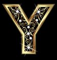 Y gold letter with swirly ornaments vector image vector image