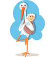 yoga stork carrying ba cartoon vector image vector image