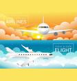 passenger airplane at sunset sky cloudssafe vector image