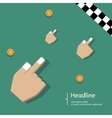 Race of hands on green background vector image