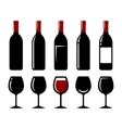 wine bottle and glass set vector image