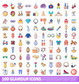 100 glamour icons set cartoon style vector image vector image