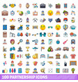 100 partnership icons set cartoon style vector image vector image