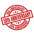 50th anniversary round red grunge stamp vector image vector image