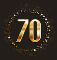 70 years anniversary gold banner vector image