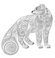 arctic fox in the zentangle style vector image vector image