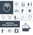 Artificial Intelligence Icons Black vector image vector image