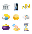 bank and money icon set of vector image