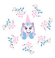 beautiful unicorn head with floral frame magic vector image vector image