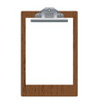 blank wooden clipboard with white paper isolated vector image