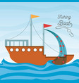 boat over sea with fishing net vector image