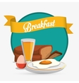 breakfast eggs juice bread ribbon green background vector image