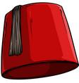 cartoon red turkish hat fez with black tassel vector image