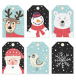 christmas tags set with cute characters vector image vector image