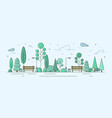 city park or garden with trees bushes and street vector image vector image