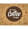 coffee logo on the cardboard background in vintage vector image vector image