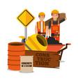 construction workers wooden barrel sack concrete vector image vector image