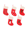 cute christmas socks set - cartoon vector image