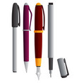 different types of pens vector image vector image