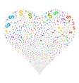 dollar fireworks heart vector image vector image