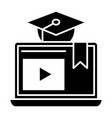 e-learning solid icon home education vector image vector image