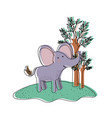 elephant cartoon in forest next to the trees in vector image