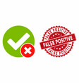 false positive icon with scratched false positive vector image vector image