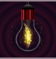 glass bulb on dark red radial background vector image vector image