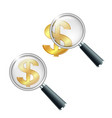 golden dollar currency sign with magnifying glass vector image