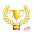 Golden Trophy Cup With Laurel Wreath Award Design vector image vector image