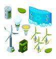 green saving energy hydro power turbines vector image
