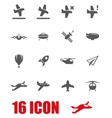 grey airplane icon set vector image