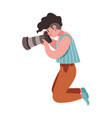 hipster girl photographer holding photo camera vector image