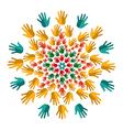 Human hands india yoga mandala vector image vector image