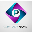 Letter P logo symbol in the colorful rhombus vector image vector image