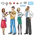 People with phones vector image