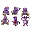 Purple robots in six designs vector image vector image