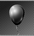 realistic black balloon with ribbon isolated vector image vector image