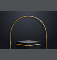 realistic dark platform with gold decoration arch vector image