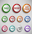 Round color labels tags for shopping vector image vector image